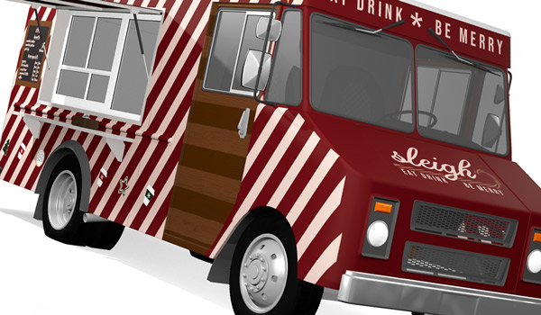 detail of food truck wrap