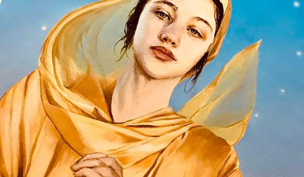 detail of painting of woman clothed in gold